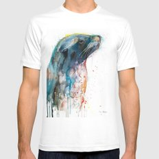 Sea lion White MEDIUM Mens Fitted Tee