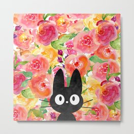 Jiji in Bloom Metal Print