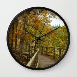 Walkway on the Keswick disused railway path to Penrith above the River Greta. Lake District, UK. Wall Clock