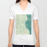 milwaukee V-neck T-shirts featuring Milwaukee Map Blue Vintage by City Art Posters
