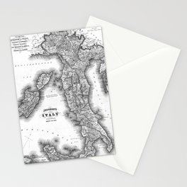 Vintage Map of Italy (1864) BW Stationery Cards