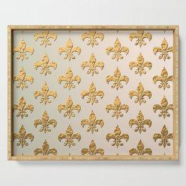 Gold Metallic Fleur De Lis Stencils Serving Tray