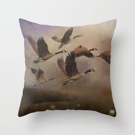 Wild Geese at Dawn Throw Pillow
