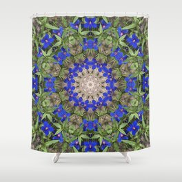 Peacock colors kaleidoscope - Anagallis, Blue pimpernel flowers Shower Curtain