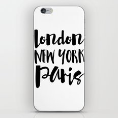 London New York Paris - Typography iPhone & iPod Skin