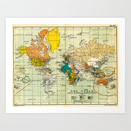 Map of the old world Art Print