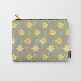 Yellow Watercolour Stemmed Daffodil Pattern Carry-All Pouch