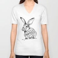 poop V-neck T-shirts featuring Poop Rabbit by Nat Osorio