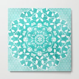 Hearts & Flowers Teal Green Blue Floral Mandala Design Metal Print