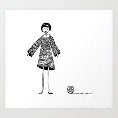 Knitting, gone awry. Art Print