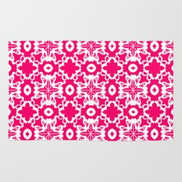 Valencia - Symmetrical Tiling Abstract in Pink and White Rug
