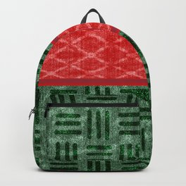 Christmas Red and Green Holiday Weave Pattern Backpack