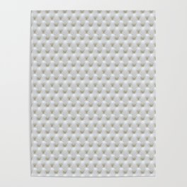 Faux White Leather Buttoned Poster
