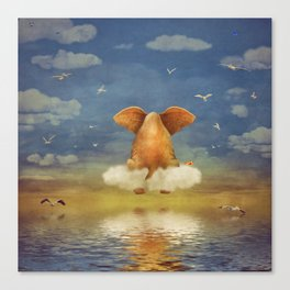 Sad elephant sitting on cloud in  sky  Canvas Print