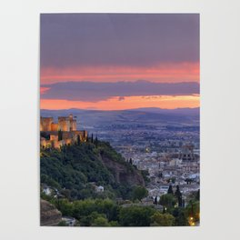 The alhambra and Granada city at sunset Poster