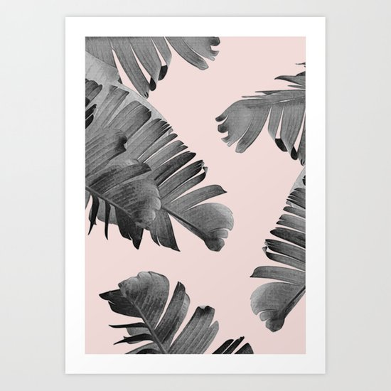 Black and pink palm leaves Art Print