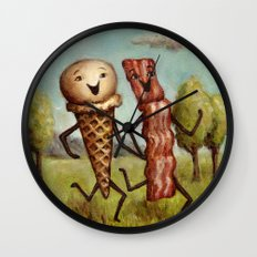 Bacon Loves Ice Cream Wall Clock