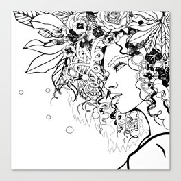 With Flowers in Her Hair No. 5 Canvas Print