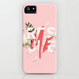 RESCUE ME | Digital typography floral poster pink iPhone Case