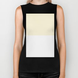 White and Cornsilk Yellow Horizontal Halves Biker Tank