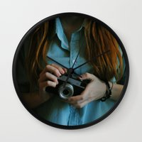 photographer Wall Clocks featuring Photographer by Jelena Pejovic