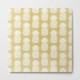 Mid Century Modern Pineapple Pattern Gold Metal Print