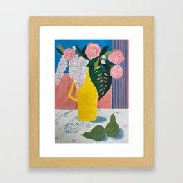 Garden Flowers in Yellow Coffee Pot Framed Art Print