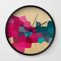 crystals Wall Clocks featuring Crystals by Samantha Ranlet