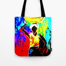 African Lady Carrying Fruit, Abstract Print Tote Bag