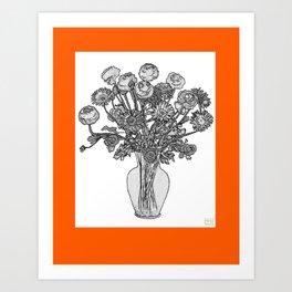 Spring Flowers in Vase on Burnished Orange Background Art Print