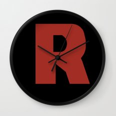 Letter R on Black Wall Clock