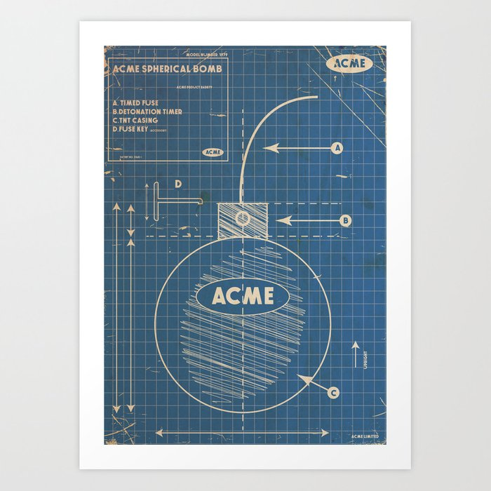 Acme spherical bomb vintage blueprint art print by nicholasgreen acme spherical bomb vintage blueprint art print malvernweather Choice Image