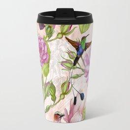 Vintage Roses and Hummingbird Pattern Travel Mug