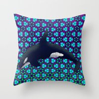 orca Throw Pillows featuring Orca by Dusty Goods