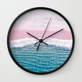 Pink sand turquoise sea Wall Clock