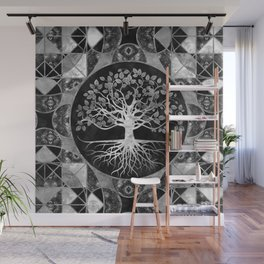 Tree of life - Gray scale Gemstone Wall Mural