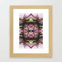 Abstract Kiwi Pattern with Fluid Black Line Framed Art Print