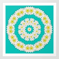 coasters Art Prints featuring White Daisies on Turquoise Background by Lena Photo Art