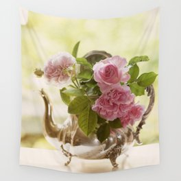 Pink English Roses in a silver Pot- Vintage Rose Stilllife Photography Wall Tapestry