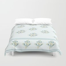 Blue anchor and flowers Duvet Cover