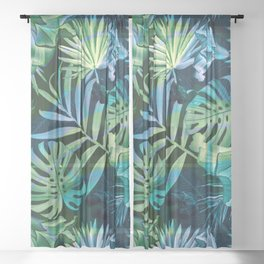 Tropical fiesta - moonlit Sheer Curtain