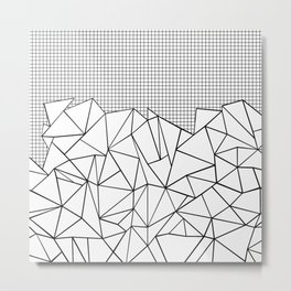 Abstract Outline Grid Black on White Metal Print