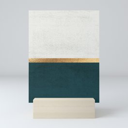 Deep Green, Gold and White Color Block Mini Art Print
