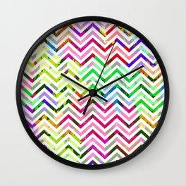Rainbow Abstract Zig Zag Wall Clock