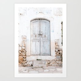 Never too old   Greek light blue old door in Crete, Greece   Pastel colored travel photography print Art Print