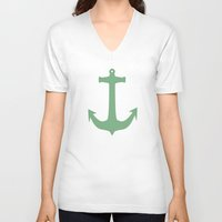 anchors V-neck T-shirts featuring Anchors Away! by Carissa W.