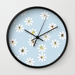 Bugs on Daisies in Light Blue Wall Clock