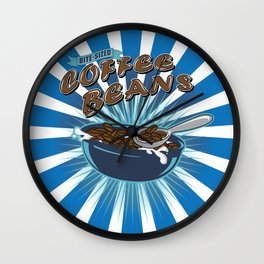 Bite Sized Coffee Beans Cereal Box Wall Clock