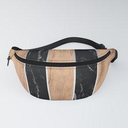 Striped Wood Grain Design - Black Granite #175 Fanny Pack