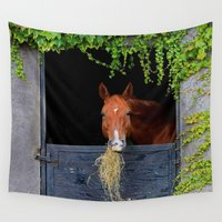 jewish Wall Tapestries featuring Home is where the Horse is by Brown Eyed Lady